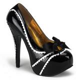 Fekete Lakk 14,5 cm TEEZE-14 női cipők a magassarkű