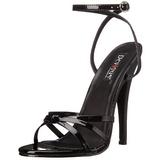 Fekete Lakk 15 cm DOMINA-108 Női Szandál Magas Cipők