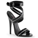 Fekete Lakk 15 cm DOMINA-119 Női Szandál Magas Cipők