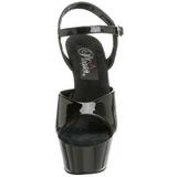 Fekete Lakk 15 cm KISS-209 Platform Magassarkú Cipők