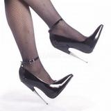 Fekete Lakk 15 cm SCREAM-12 Körömcipők Tűsarkú Magas Cipők