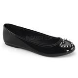 Fekete Lakk Demonia STAR-24 Lapos Balerínky Cipők
