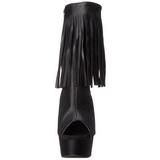 Fekete Matt 15 cm DELIGHT-1019 női rojtos bokacsizma a magassarkű