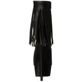Fekete Matt 15 cm DELIGHT-1019 női rojtos magassarkű bokacsizma