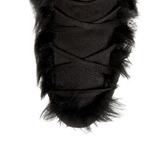 Fekete Mikroszálas 10,5 cm MAMMOTH-311 Női Füzös Csizma Magassarkú