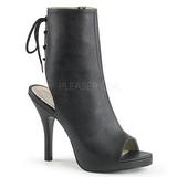 Fekete Műbőr 12,5 cm EVE-102 nagy méretek bokacsizma női