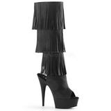 Fekete Műbőr 15 cm DELIGHT-2019-3 női rojtos csizma magassarkű