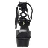 Fekete Műbőr 15 cm DELIGHT-600-14 platform pleaser szandál