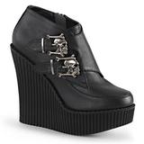 Fekete Műbőr CREEPER-306 creepers éktalpú cipők