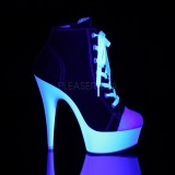Fekete Neon 15 cm DELIGHT-600SK-02 vászon magassarkú tornacipő