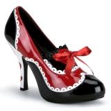 Fekete Piros 10,5 cm QUEEN-03 női cipők magassarkű