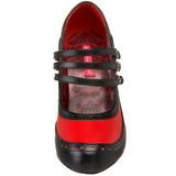 Fekete Piros 11,5 cm rockabilly TEMPT-10 női cipők a magassarkű
