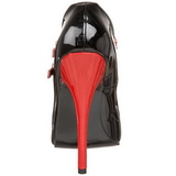 Fekete Piros 15 cm DOMINA-442 női cipők magassarkű