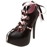 Fekete Rózsaszín 14,5 cm TEEZE-13 női cipők a magassarkű