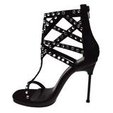 Fekete Strasszköves 11,5 cm CHIC-32 Platform Magassarkú Cipők