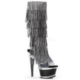 Fekete Strasszköves 16,5 cm ILLUSION-2017RSF női rojtos csizma a magassarkű
