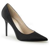 Fekete Szatén 10 cm CLASSIQUE-20 Körömcipők Tűsarkú Magas Cipők