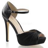 Fekete Szatén 12 cm LUMINA-48 Körömcipők magas cipők