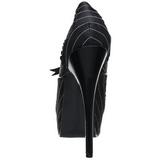 Fekete Szatén 14,5 cm Burlesque BORDELLO TEEZE-01 Platform Körömcipők
