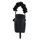 Fekete Szatén 14,5 cm Burlesque TEEZE-56 Platform Szandál Magassarkú