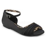 Fekete Szatén ANNA-03 nagy méretek balerínky cipők