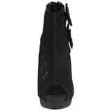 Fekete Szatén Platform Bokacsizma női 13,5 cm BELLA-28 Peep Toe