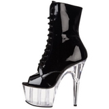 Fekete Átlátszó 18 cm ADORE-1021 női platform bokacsizma