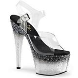 Fekete Átlátszó 18 cm STARDUST-708-2 női cipők a magassarkű