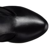 Fekete műbőr széles borjú 12,5 cm EVE-312 hosszú csizma magassarkű