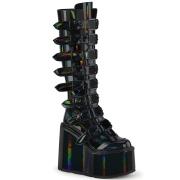 Hologram 14 cm SWING-815 alternatív csizma platformos csatos fekete
