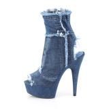Kék 15 cm DELIGHT-1030 vászon magassarkú tornacipő
