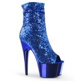 Kék 18 cm ADORE-1008SQ női flitterekkel bokacsizma a magassarkű