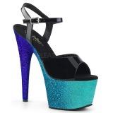 Kék 18 cm ADORE-709OMBRE csillámos platform szandal női