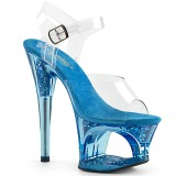 Kék 18 cm MOON-708GFT csillámos platform szandal női