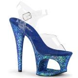 Kék 18 cm MOON-708LG csillámos platform magassarkű női
