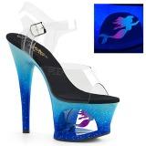 Kék 18 cm MOON-708MER Neon platform magassarkű női