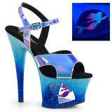 Kék 18 cm MOON-711MER Neon platform magassarkű női