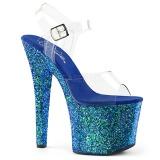 Kék 18 cm RADIANT-708LG csillámos magassarkű cipők
