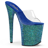 Kék 20 cm FLAMINGO-801LG csillámos platform női papucs