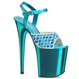 Kék 20 cm FLAMINGO-809MMRS csillámos platform szandal női