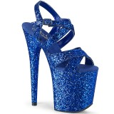 Kék 20 cm FLAMINGO-897LG csillámos platform magassarkű női