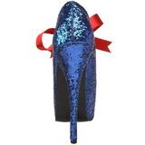 Kék Csillámos 14,5 cm Burlesque TEEZE-10G Platform Körömcipők