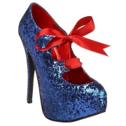 Kék Csillámos 14,5 cm TEEZE-10G Concealed burlesque Körömcipők Tűsarkú Cipő