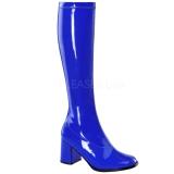 Kék Lakk 8,5 cm GOGO-300 Női Csizma a Férfi