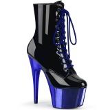 Kék Lakkbőr 18 cm ADORE-1020 női krom platform bokacsizma