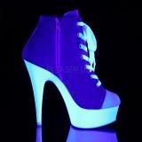 Kék Neon 15 cm DELIGHT-600SK-02 vászon magassarkú tornacipő