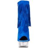 Kék Szarvasbőr 15 cm DELIGHT-1019 női rojtos bokacsizma a magassarkű