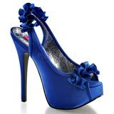 Kék Szatén 14,5 cm Burlesque TEEZE-56 Platform Szandál Magassarkú