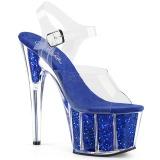 Kék csillámos 18 cm Pleaser ADORE-708G rúdtánc magassarkú cipő