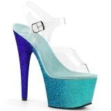 Kék csillámos 18 cm Pleaser ADORE-708OMBRE rúdtánc magassarkú cipő
